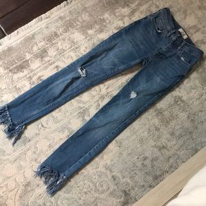 free people skinny ankle jeans with frayed bottom